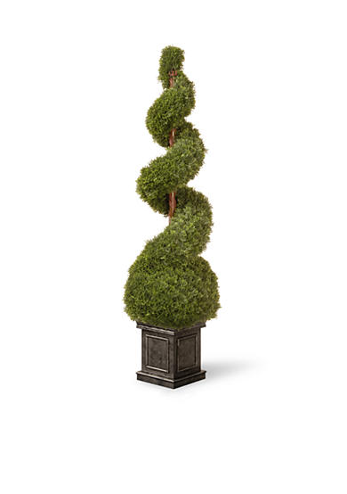 National Tree Company® Cedar Spiral Tree With Ball In A Black Square Pot