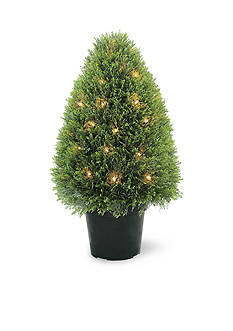 National Tree Company® Upright Juniper Tree with Green Round Growers Pot with 50 Clear Lights