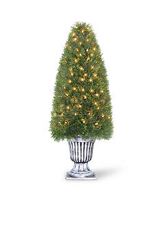 National Tree Company Upright Juniper Tree In A Silver Urn With 150 Clear Lights