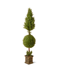 National Tree Company Juniper Cone and Ball Topiary with Square Pot