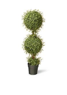National Tree Company Mini Tea Leaf 2-Ball Topiary In Pot