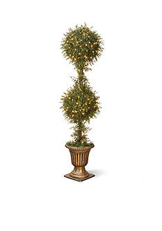 National Tree Company Mini Tea Leaf Two Ball Topiary with Black and Gold Urn