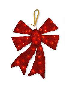 National Tree Company Red Sisal Bow with Lights
