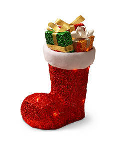 National Tree Company Fabric Tinsel Shoe With Gifts Inside