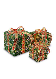 National Tree Company Assorted Sisal Gift Boxes With Lights