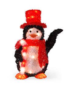 National Tree Company Tinsel Penguin With Candy Cane