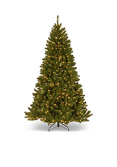 National Tree Company North Valley Spruce Hinged Tree With LED Lights