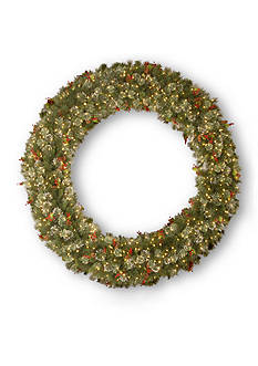 National Tree Company 6-ft. Wintery Pine Wreath with Cones, Red Berries, and Snowflakes