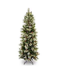 National Tree Company® 7.5-in. Wintry Pine Slim Hinged Tree