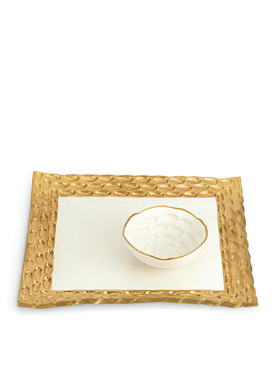 MICHAEL WAINWRIGHT Truro Gold Square Tray w/Bowl