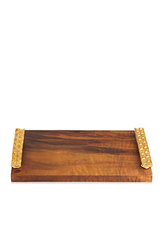 MICHAEL WAINWRIGHT Truro Gold Wood Cheese Tray W/ Knife
