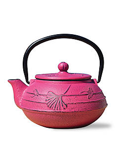Old Dutch International, Ltd. Fuchsia Cast Iron Ginkgo Teapot