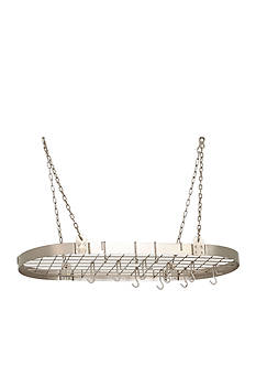 Old Dutch International, Ltd. Satin Nickel Medium Gauge Oval Hanging Pot Rack w/ Grid & 12 Hooks