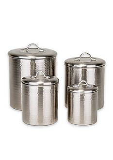 Old Dutch International, Ltd. 4-Piece Brushed Nickel Hammered Canister Set
