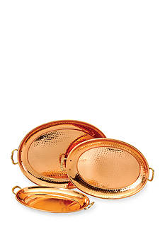 Old Dutch International, Ltd. Decor Copper Oval Trays, Set of 3