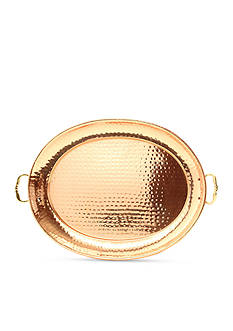 Old Dutch International, Ltd. Hammered Decor Copper Oval Tray with Cast Brass Handles