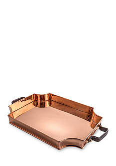 Old Dutch International, Ltd. Royale Solid Copper Rectangular Tray with Real Leather Handles