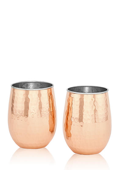 Old Dutch International, Ltd. 2-Ply Hammered Solid Copper and Stainless Steel Stemless Wine Glasses, Set of 2