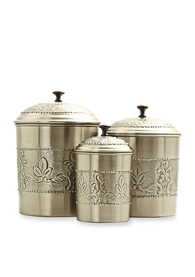 Old Dutch International, Ltd. 3-Piece Embossed Victoria Antique Pewter Canister Set