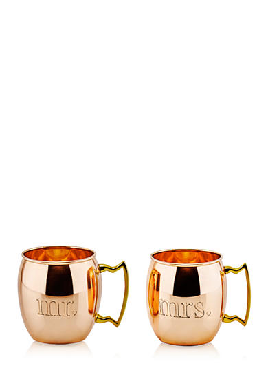 Old Dutch International, Ltd. Mr. and Mrs. Solid Copper Set of 2 Moscow Mule Mugs