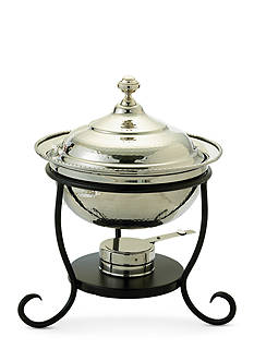 Old Dutch International, Ltd. Polished Nickel over Stainless Steel Round Chafing Dish, 3-qt.