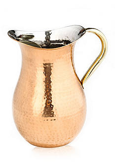 Old Dutch International, Ltd. Decor Copper Hammered Water Pitcher with Brass Ice Guard & Handle