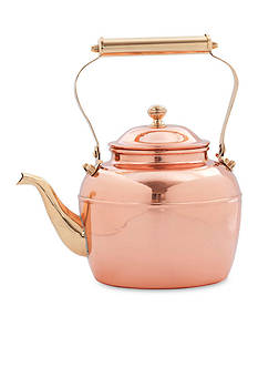 Old Dutch International, Ltd. Solid Copper Tea Kettle w/ Brass Handle, 2.5-qt.