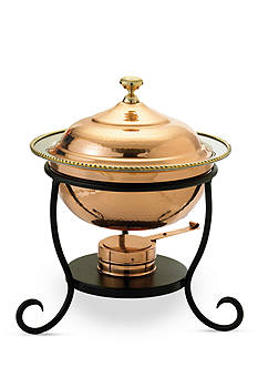Old Dutch International, Ltd. Decor Copper over Stainless Steel Round Chafing Dish, 3-qt.