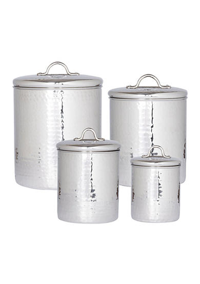 Old Dutch International, Ltd. 4-Piece Hammered Stainless Steel Canister Set with Fresh Seal Lids