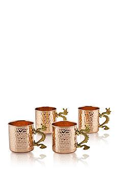 Old Dutch International, Ltd. Hammered Copper Dragon Handle Straight Sided Mugs, 20-oz., Set of 4