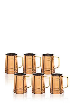 Old Dutch International, Ltd. Solid Copper Beer Steins, 1-pt., Set of 6