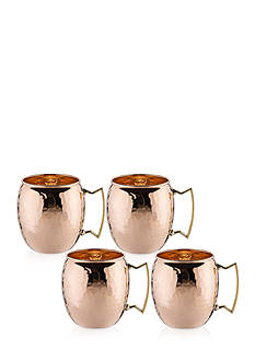 Old Dutch International, Ltd. Hammered Solid Copper Moscow Mule Mugs, Set of 4