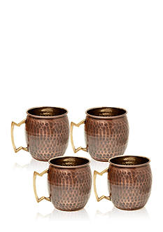 Old Dutch International, Ltd. Set of 4 Antique Hammered Solid Copper Moscow Mule Mugs