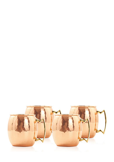 Old Dutch International, Ltd. Nickel-Lined Solid Copper Moscow Mule Mugs, Set of 4