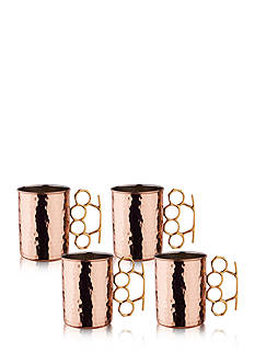 Old Dutch International, Ltd. Hammered Solid Copper Brass Knuckle Moscow Mule Mugs, Set of 4
