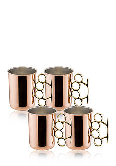 Old Dutch International, Ltd. Solid Copper Brass Knuckle Moscow Mule Mugs, Set of 4