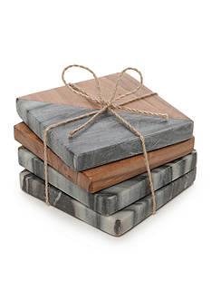 Biltmore Artisan Acacia and Gray Marble Coasters