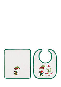C&F 2-Piece 'The Elf Made Me Do It' Baby Bib and Burp Cloth Set