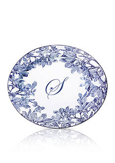 Caskata Arbor Blue Large Rimmed Oval Platter - Initial S