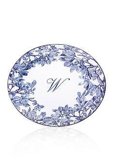Caskata Arbor Blue Large Rimmed Oval Platter - Initial W