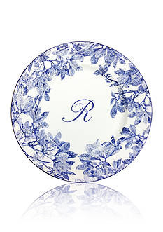 Caskata Arbor Blue Rimmed Charger Plate - Initial R