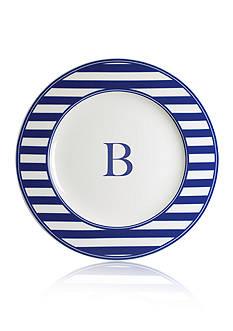 Caskata Beach Towel Stripe Rimmed Charger Plate - Initial B