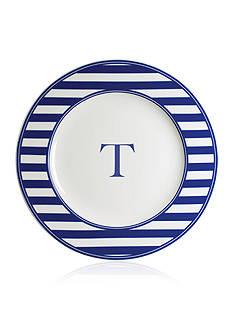 Caskata Beach Towel Stripe Rimmed Charger Plate - Initial T