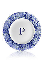 Blue Rimmed Salad Plate - Initial P