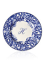 Blue Rimmed Salad Plate - Initial H