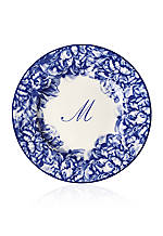 Blue Rimmed Salad Plate - Initial M