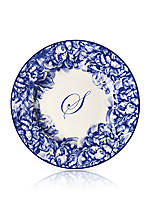Blue Rimmed Salad Plate - Initial S