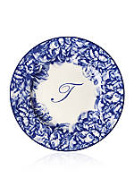 Blue Rimmed Salad Plate - Initial T