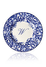 Blue Rimmed Salad Plate - Initial W