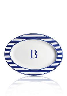 Caskata Beach Towel Stripe Rimmed Oval Platter - Initial B